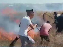 Incediu de vegetatie de linga str. Lermontov. 2 familii evacuate