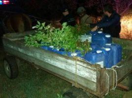 Contrabanda cu alcool - o caruta plina in satul Larga, Briceni